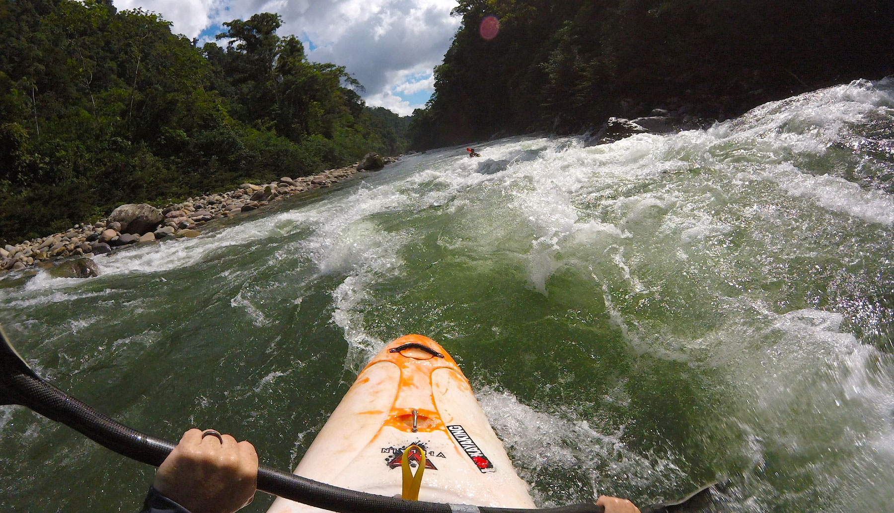 Kayaking view of a river in Ecuador