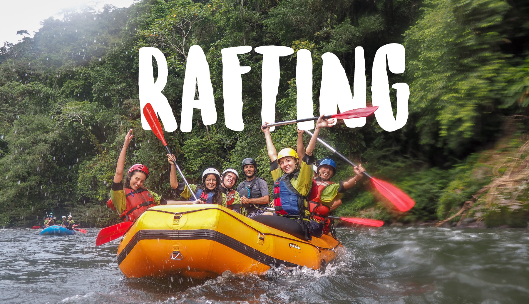 Happy people in a rafting boat in Napo, Tena enjoying an Adventure Ecuador.