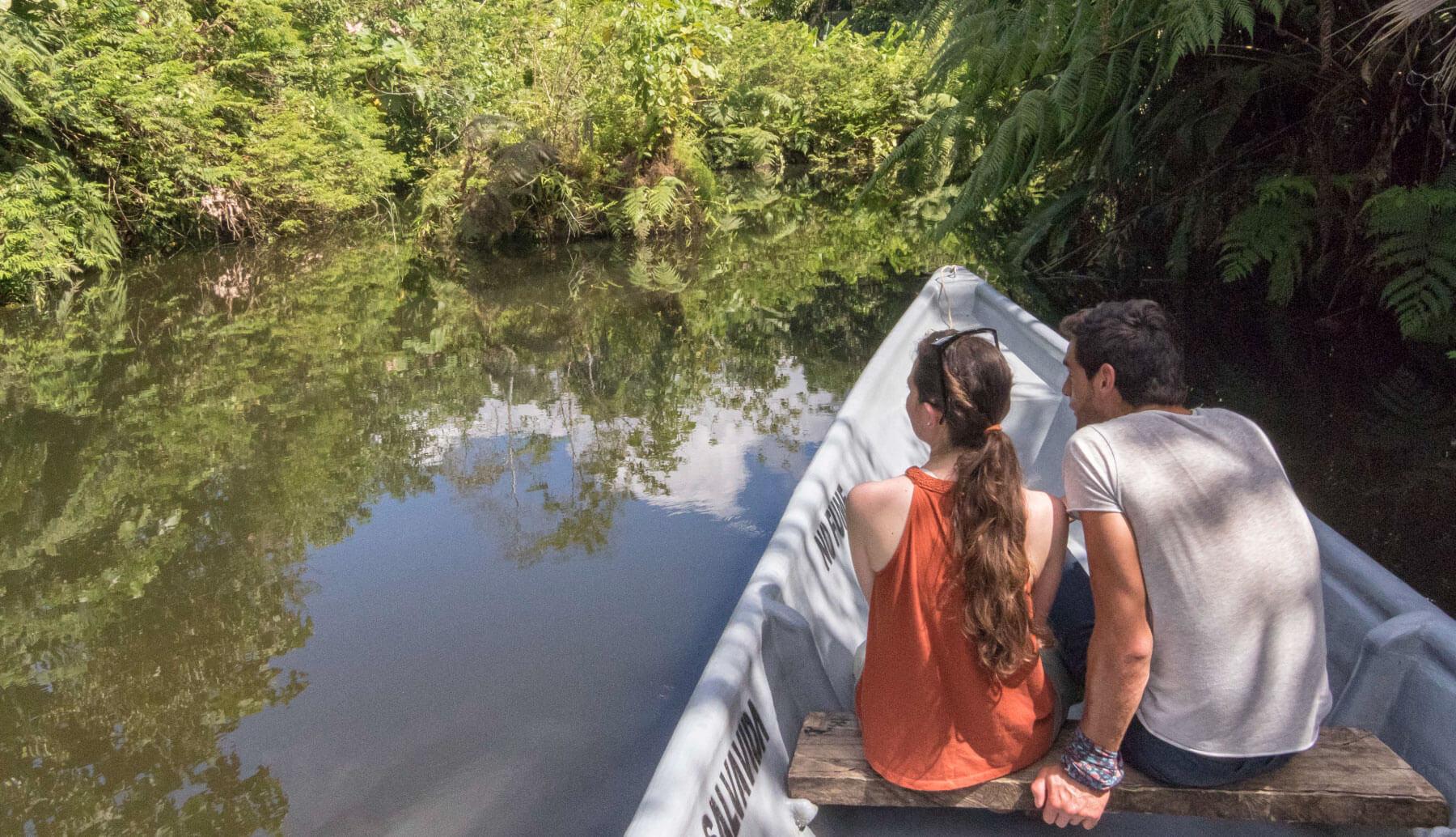 Paikahue Lagoon in a canoe