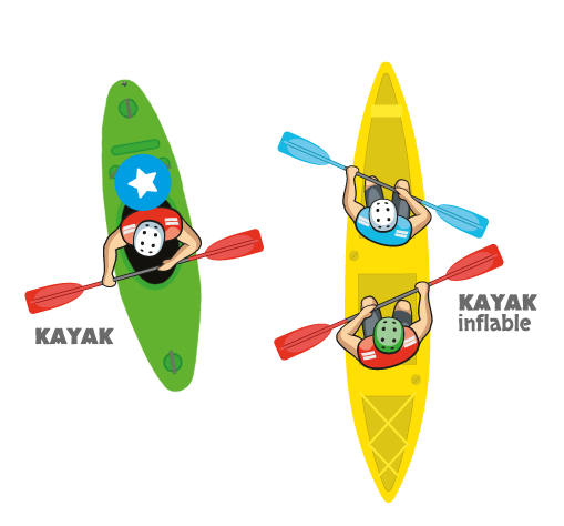 Illustration of a kayak and duckie