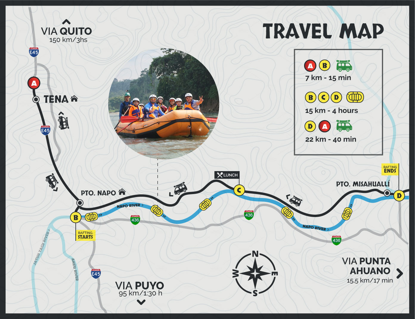 Map of the Rafting Napo River Tour