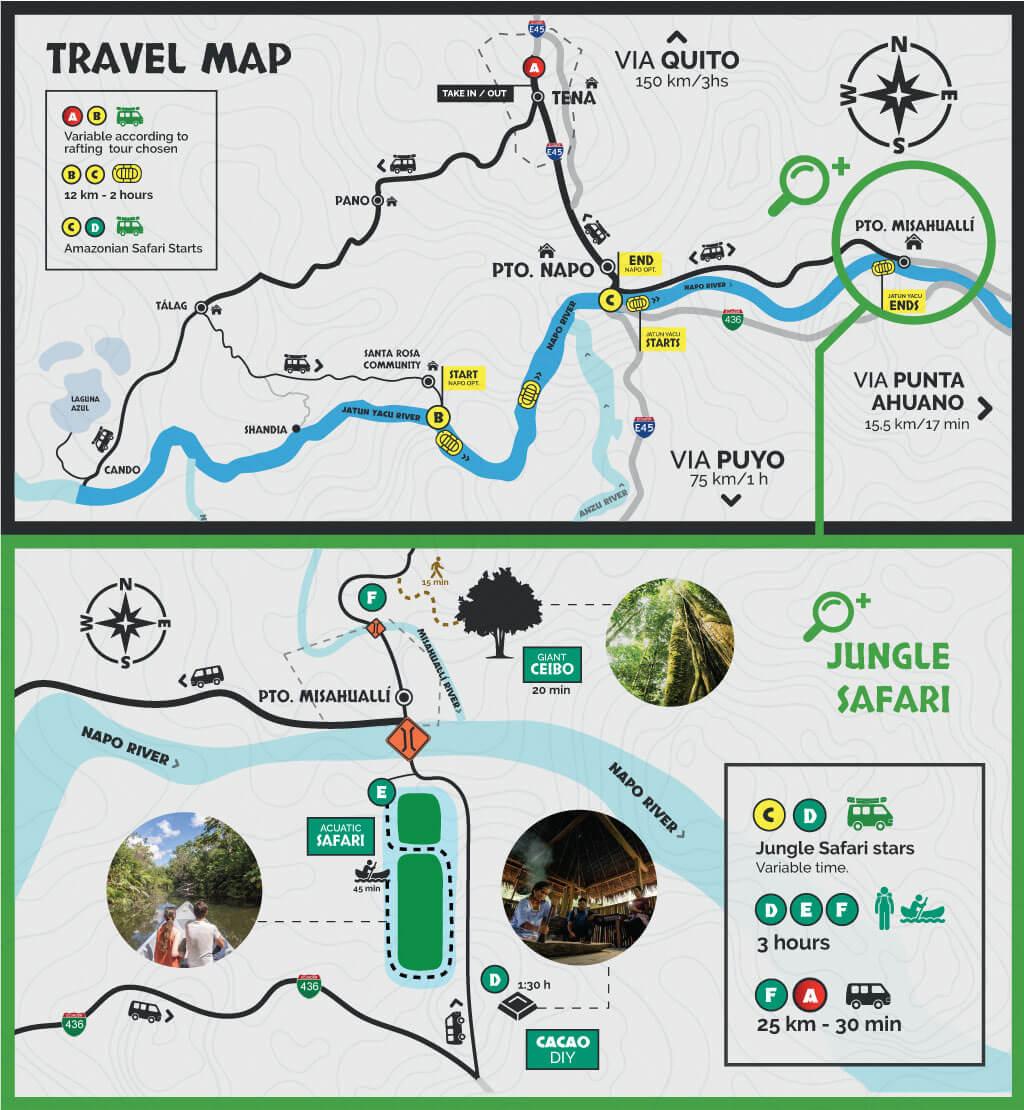 Jungle Safari + Rafting Travel Map