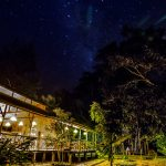 Night photo of Anaconda Lodge, in amazonian jungle in Ecuador